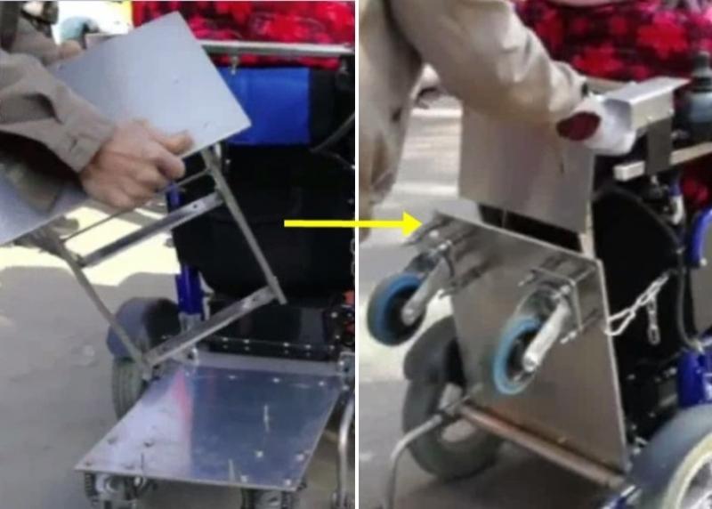 輪椅「後座」可以折疊,非常便捷