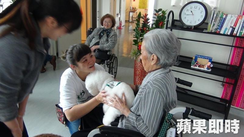 原本怕狗、坐輪椅的阿嬤,看到奶昔可愛,主動要求抱抱奶昔