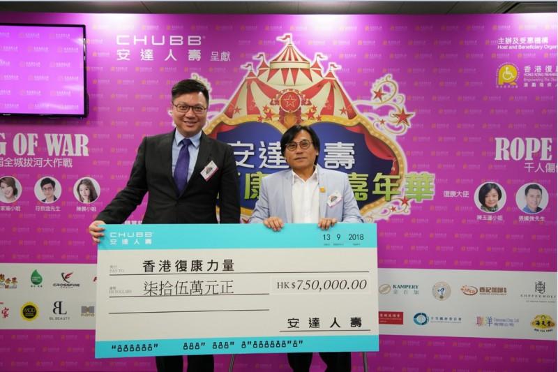 安达人寿捐出港币75万元予香港复康力量,支持复康力量嘉年华活动。