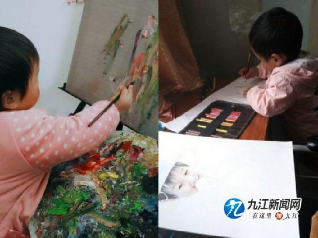 張海晶的女兒小小但在作畫
