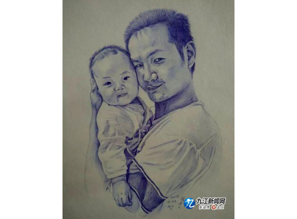 張海晶筆下的丈夫和女兒(素描作品)