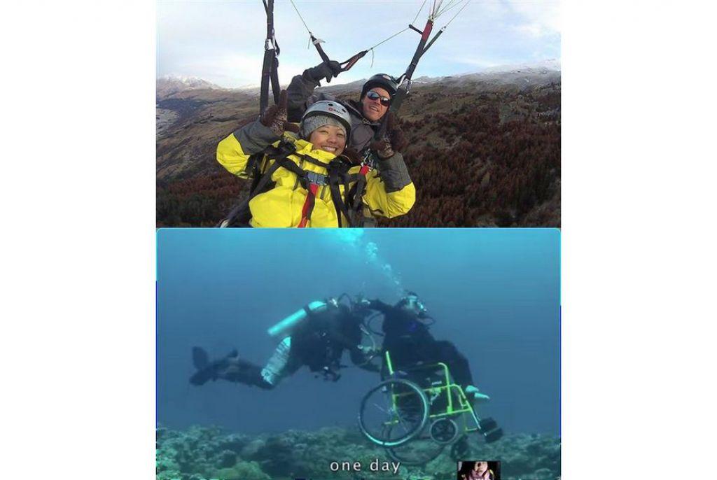 勇敢之後,林欣蓓體驗高空跳傘和海底潛水