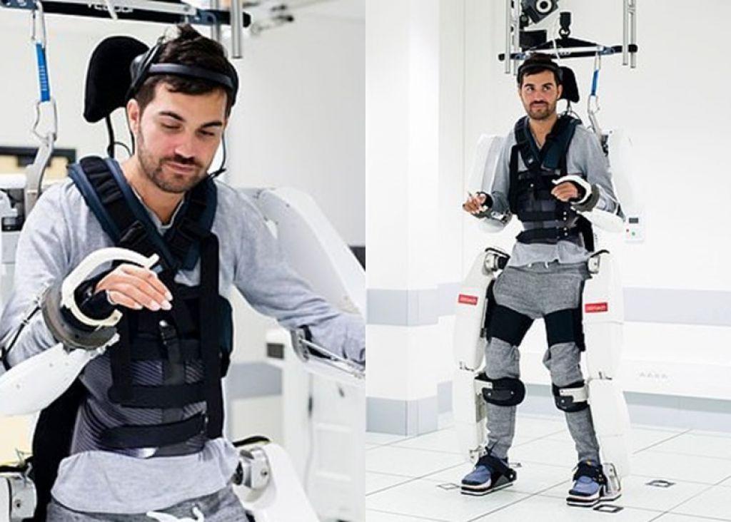 歷經兩年腦部訓練 法籍癱瘓病人藉機械衣再步行