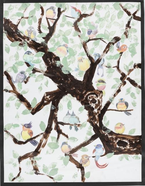 莫惠芝-樹林春曲-畫中雀鳥栩栩如生彷彿在樹上唱歌。