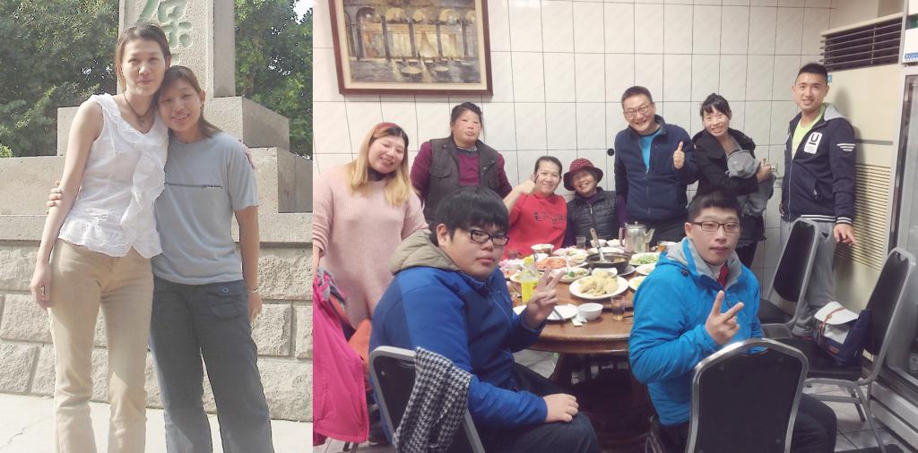 回到宜蘭,與家人及三星榮耀教會的傳道、師母團聚。(受訪者提供)