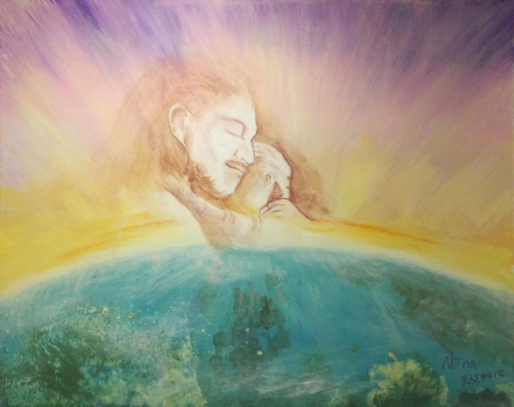 作畫「天父的心」,醫治孤兒的靈。(受訪者提供)