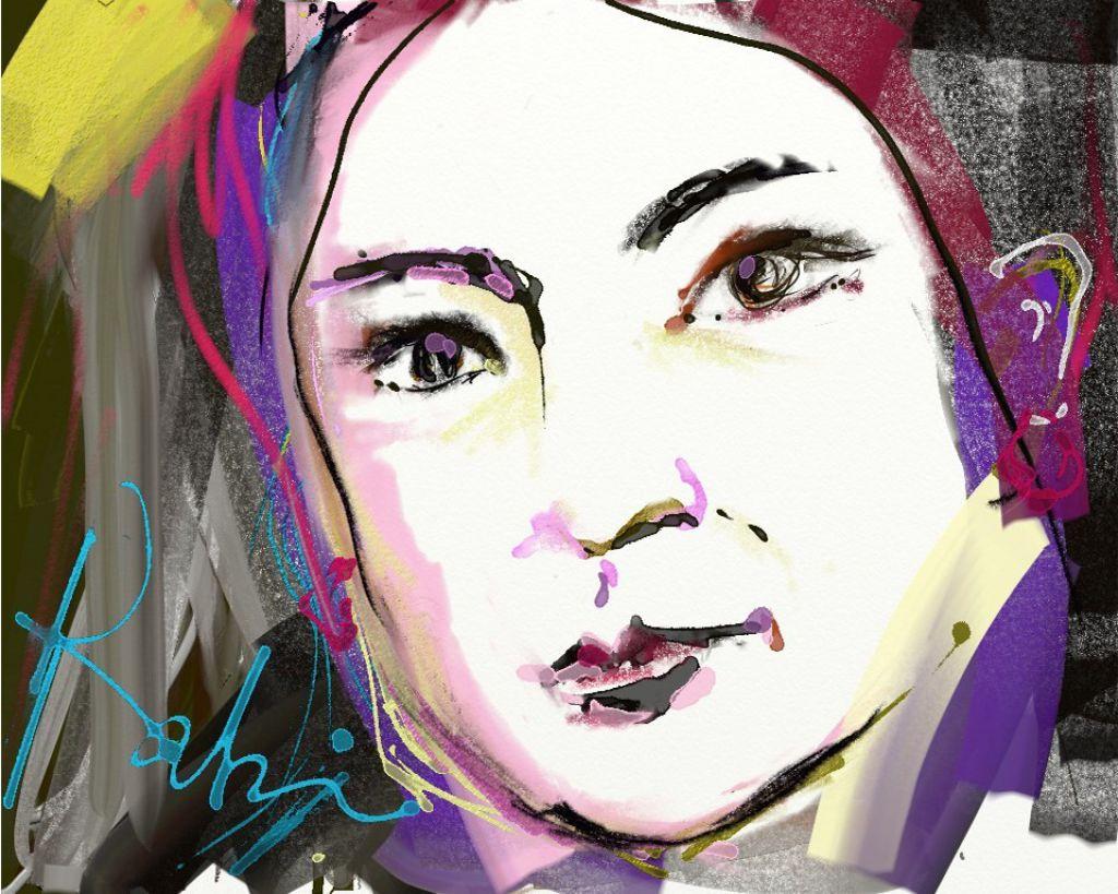 訪問後,編者邀請Rabi畫一張自畫像。從這幅畫,你看到一個怎樣的她?