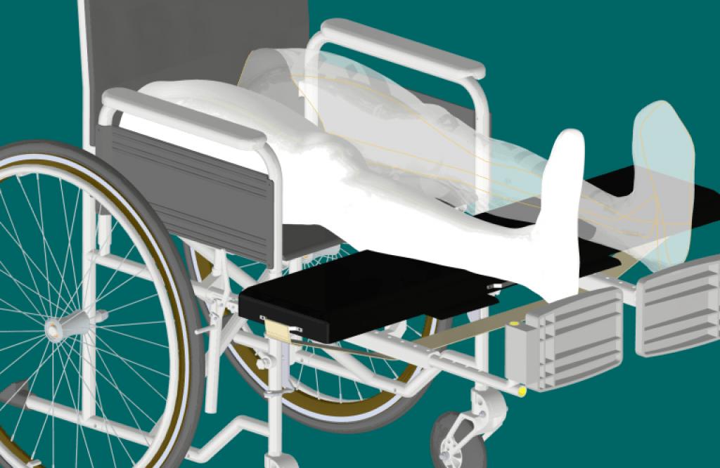 衛生綜合商業與工程計劃輪椅的渲染。