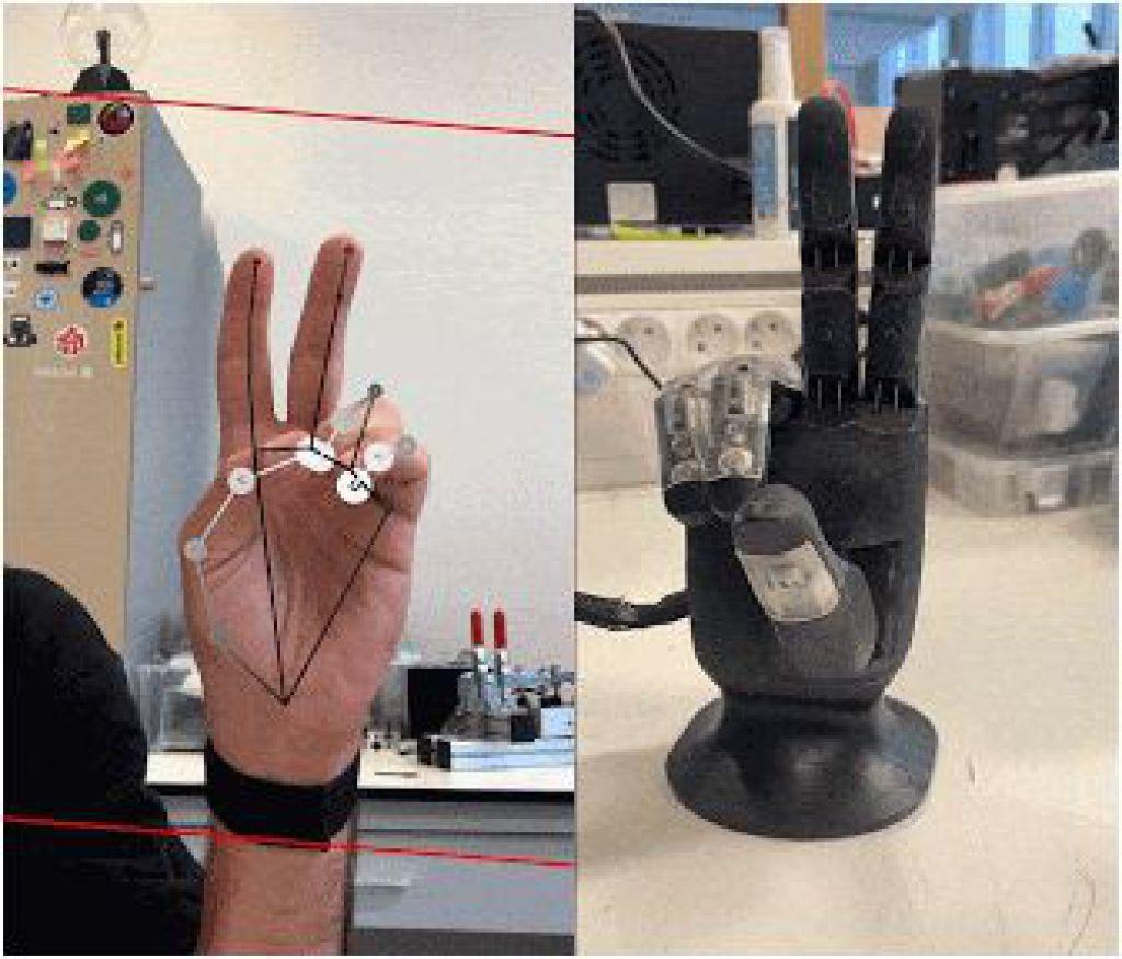 Mirru app使用MediaPipes手部追踪來移動機械手指的演示。