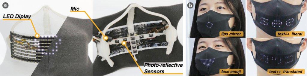 麥克風和陣列在口罩內部的光折射感應器偵測嘴唇動態和語音並將其轉譯為LED嘴部形狀、表情符號和文字