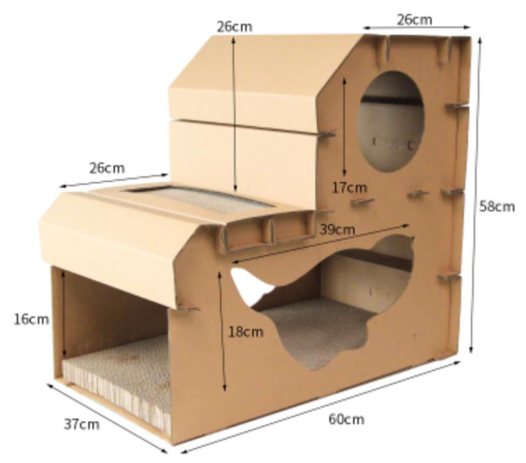 貓屋別墅加貓抓板-1